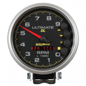 "5"" TACHOMETER, 0-9000 RPM, PEDESTAL, ULTIMATE DL PLAYBACK, BLACK"