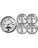 "5 PC. GAUGE KIT, 3-3/8"" & 2-1/16"", ELECTRIC SPEEDOMETER, OLD TYME WHITE II"