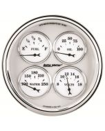 "5"" QUAD GAUGE, 100 PSI/100-250 °F/8-18V/240-33 Ω, OLD-TYME WHITE II"