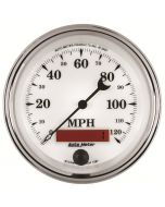 "3-3/8"" SPEEDOMETER, 0-120 MPH, ELECTRIC, OLD-TYME WHITE II"