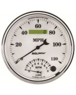 """5"""" TACHOMETER/SPEEDOMETER COMBO, 8K RPM/120 MPH, ELECTRIC, OLD-TYME WHITE II"""