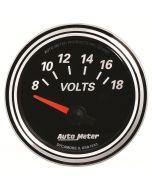 """2-1/16"""" VOLTMETER, 8-18V, AIR-CORE, DESIGNER BLACK II"""