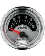 "2-1/16"" VOLTMETER, 8-18V, AIR-CORE, AMERICAN MUSCLE"