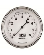 "3-3/8"" IN-DASH TACHOMETER, 0-8,000 RPM, OLD-TYME WHITE II"
