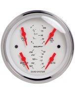 """3-3/8"""" QUAD GAUGE, 100 PSI/100-250 °F/8-18V/240-33 Ω, ARCTIC WHITE"""
