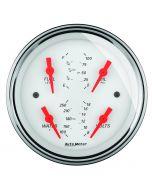 """3-3/8"""" QUAD GAUGE, 100 PSI/100-250 °F/8-18V/0-90 Ω, ARCTIC WHITE"""