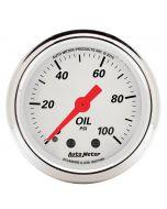 "2-1/16"" OIL PRESSURE, 0-100 PSI, MECHANICAL, ARCTIC WHITE"