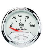"2-1/16"" OIL PRESSURE, 0-100 PSI, CHEVROLET HERITAGE BOWTIE"