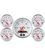 "5 PC. GAUGE KIT, 3-3/8"" & 2-1/16"", GPS SPEEDOMETER, ARCTIC WHITE"