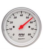 """3-3/8"""" IN-DASH TACHOMETER, 0-8,000 RPM, ARCTIC WHITE"""