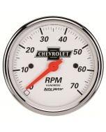 "3-1/8"" IN-DASH TACHOMETER, 0-7,000 RPM, CHEVROLET HERITAGE BOWTIE"