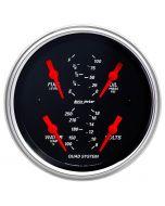 """3-3/8"""" QUAD GAUGE, 100 PSI/100-250 °F/8-18V/240-33 Ω, DESIGNER BLACK"""