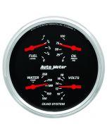 """5"""" QUAD GAUGE, 100 PSI/100-250 °F/8-18V/0-90 Ω, DESIGNER BLACK"""