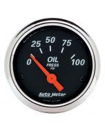 "2-1/16"" OIL PRESSURE, 0-100 PSI, AIR-CORE, DESIGNER BLACK"