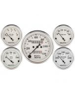 "5 PC. GAUGE KIT, 3-1/8"" & 2-1/16"", MECHANICAL SPEEDOMETER, OLD TYME WHITE"