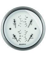 """3-3/8"""" QUAD GAUGE, 100 PSI/100-250 °F/8-18V/0-90 Ω, OLD-TYME WHITE"""