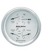 """5"""" QUAD GAUGE, 100 PSI/100-250 °F/8-18V/0-90 Ω, OLD-TYME WHITE"""