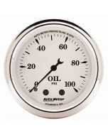 "2-1/16"" OIL PRESSURE, 0-100 PSI, MECHANICAL, OLD-TYME WHITE"