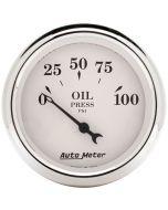 "2-1/16"" OIL PRESSURE, 0-100 PSI, AIR-CORE, OLD-TYME WHITE"