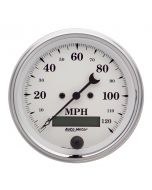 """3-3/8"""" SPEEDOMETER, 0-120 MPH, ELECTRIC, OLD-TYME WHITE"""