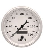 """5"""" SPEEDOMETER, 0-120 MPH, ELECTRIC, OLD-TYME WHITE"""