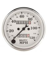 "3-1/8"" SPEEDOMETER, 0-120 MPH, MECHANICAL, OLD-TYME WHITE"