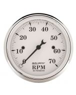"3-1/8"" IN-DASH TACHOMETER, 0-7,000 RPM, OLD-TYME WHITE"