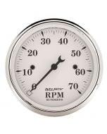 "3-1/8"" IN-DASH TACHOMETER, 0-7,000 RPM, OLD-TYME WHITE"