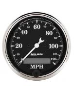 "3-1/8"" SPEEDOMETER, 0-120 MPH, ELECTRIC, OLD TYME BLACK"