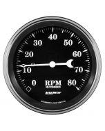 """3-3/8"""" TACHOMETER, 8K RPM, IN-DASH, OLD TYME BLACK"""