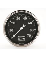 "3-1/8"" IN-DASH TACHOMETER, 0-7,000 RPM, OLD TYME BLACK"