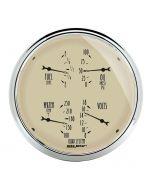 """5"""" QUAD GAUGE, 100 PSI/100-250 °F/8-18V/0-90 Ω, ANTIQUE BEIGE"""