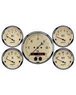 """5 PC. GAUGE KIT, 3-3/8"""" & 2-1/16"""", GPS SPEEDOMETER, ANTIQUE BEIGE"""