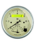 "3-3/8"" TACHOMETER/SPEEDOMETER COMBO, 8K RPM/120 MPH, ELECTRIC, ANTIQUE BEIGE"
