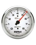 "3-3/8"" TACHOMETER, 0-8,000 RPM, WHITE, PRO-CYCLE"
