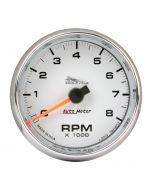 "2-5/8"" TACHOMETER, 0-8,000 RPM, WHITE, BLUE LED, PRO-CYCLE"