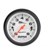 "2-5/8"" TACHOMETER, 0-8,000 RPM, WHITE W/ BLACK BEZEL, PRO-CYCLE"
