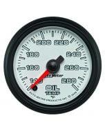 "2-1/16"" OIL TEMPERATURE, 140-280 °F, STEPPER MOTOR, WHITE/BLACK, PRO-CYCLE"