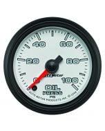 "2-1/16"" OIL PRESSURE, 0-100 PSI, STEPPER MOTOR, WHITE/BLACK, PRO-CYCLE"