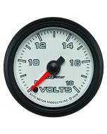 "2-1/16"" VOLTMETER, 8-18V, DIGITAL STEPPER MOTOR, WHITE/BLACK, PRO-CYCLE"