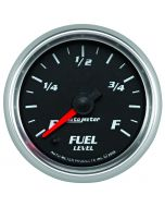 """2-1/16"""" FUEL LEVEL, PROGRAMMABLE 0-280 Ω, STEPPER MOTOR, BLACK/BRIGHT ANODIZED, PRO-CYCLE"""