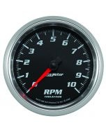 """3-3/8"""" TACHOMETER, 0-10,000 RPM, BLACK/BRIGHT ANODIZED, PRO-CYCLE"""