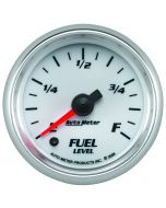 """2-1/16"""" FUEL LEVEL, PROGRAMMABLE 0-280 Ω, STEPPER MOTOR, WHITE/BRIGHT ANODIZED, PRO-CYCLE"""