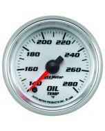"2-1/16"" OIL TEMPERATURE, 140-280 °F, STEPPER MOTOR, WHITE/BRIGHT ANODIZED, PRO-CYCLE"