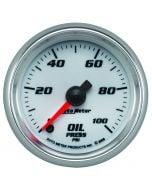 "2-1/16"" OIL PRESSURE, 0-100 PSI, STEPPER MOTOR, WHITE/BRIGHT ANODIZED, PRO-CYCLE"