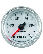 "2-1/16"" VOLTMETER, 8-18V, DIGITAL STEPPER MOTOR, WHITE/BRIGHT ANODIZED, PRO-CYCLE"