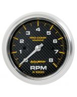 "3-3/8"" IN-DASH TACHOMETER, 0-8,000 RPM, MARINE CARBON FIBER"