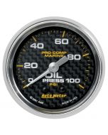 "2-1/16"" OIL PRESSURE, 0-100 PSI, MECHANICAL, MARINE CARBON FIBER"