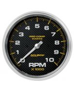 "5"" IN-DASH TACHOMETER, 0-10,000 RPM, MARINE CARBON FIBER"