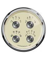 """5"""" QUAD GAUGE, 100 PSI/100-250 °F/8-18V/0-90 Ω, PRESTIGE ANTIQUE IVORY"""